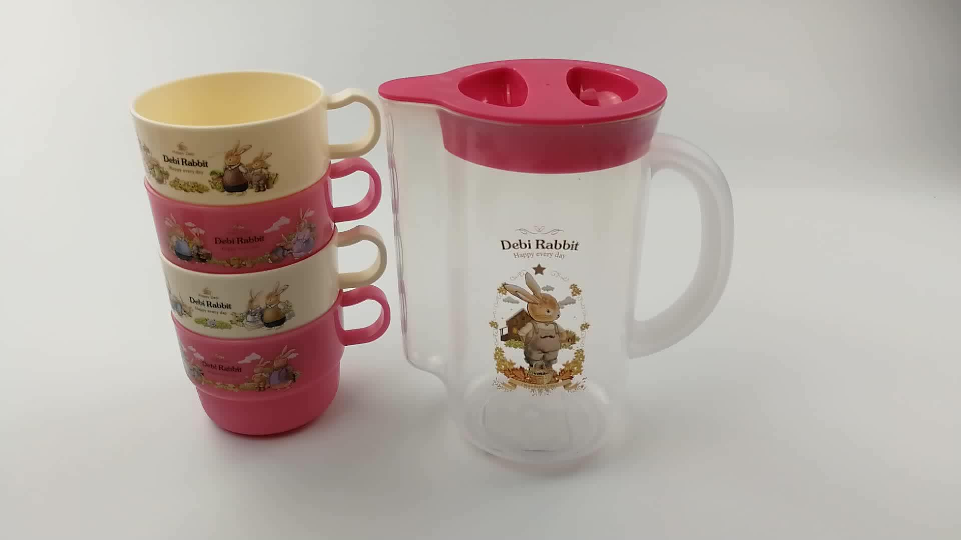 LULA BPA FREI Kinder Krug Kunststoff Wasserkrug Sätze Kleine Wasser Krug mit 4 Tumbler für Haus und Küche