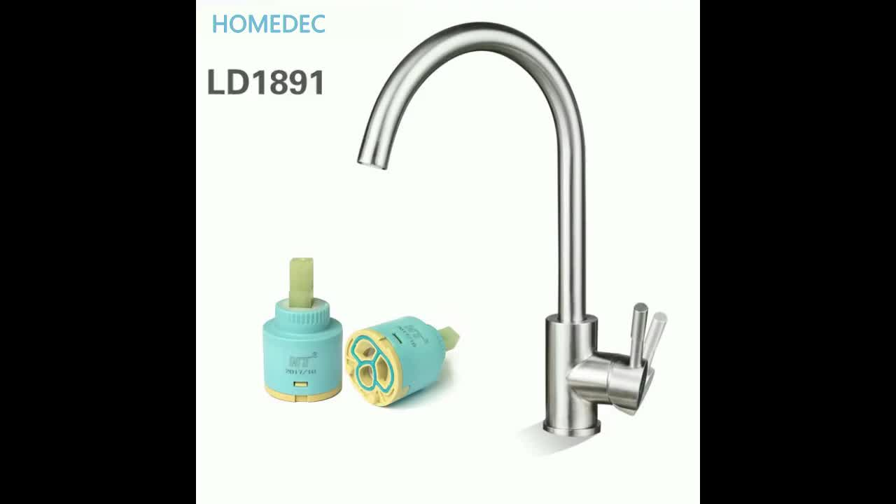 Modern design hot and cold 304 stainless steel 2 way kitchen faucet