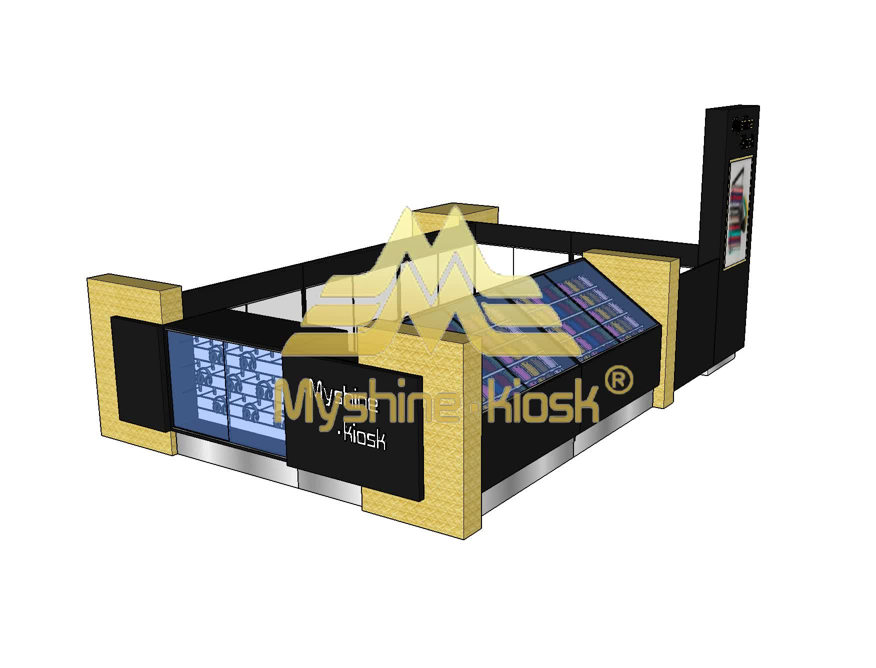 Customized attractive cell phone display mobile phone accessories kiosk design for sale