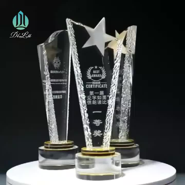 Wholesale UV Colour Printing logo blank Shield crystal Diamond awards trophies for army Memorial Gift