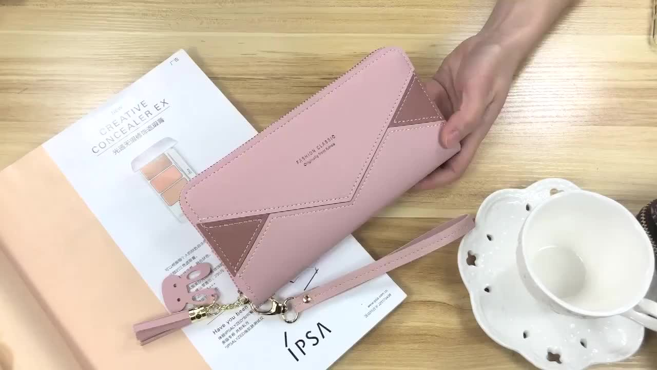 New hand wallet women's long zipper fashion splicing color contrast wallet large capacity wallet mobile bag