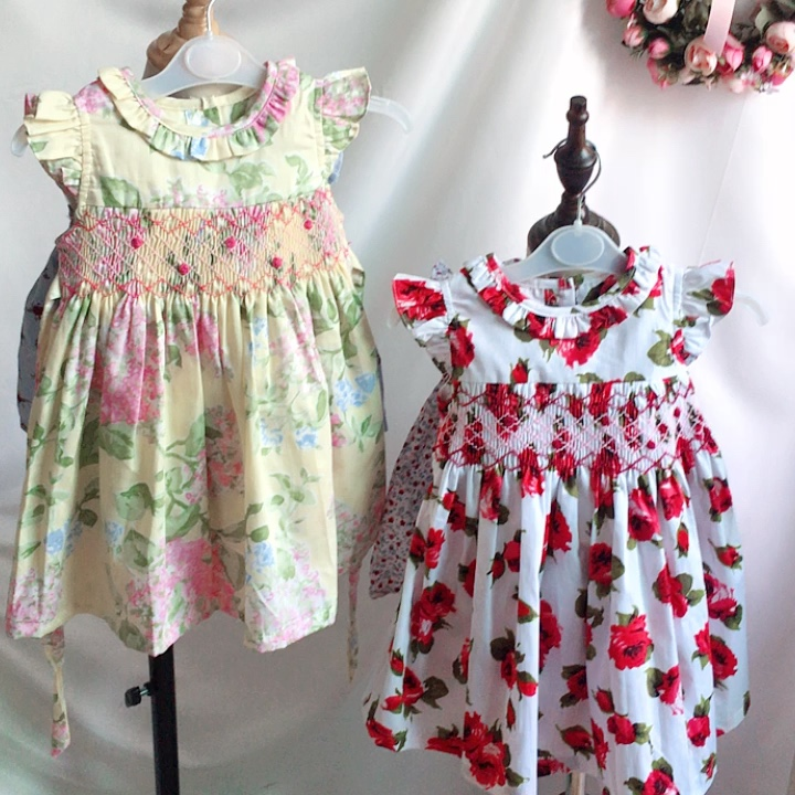 hand made embroidery smocked dresses for girl's clothing floral ruffles flower kids dresses boutiques baby clothes  c91018532