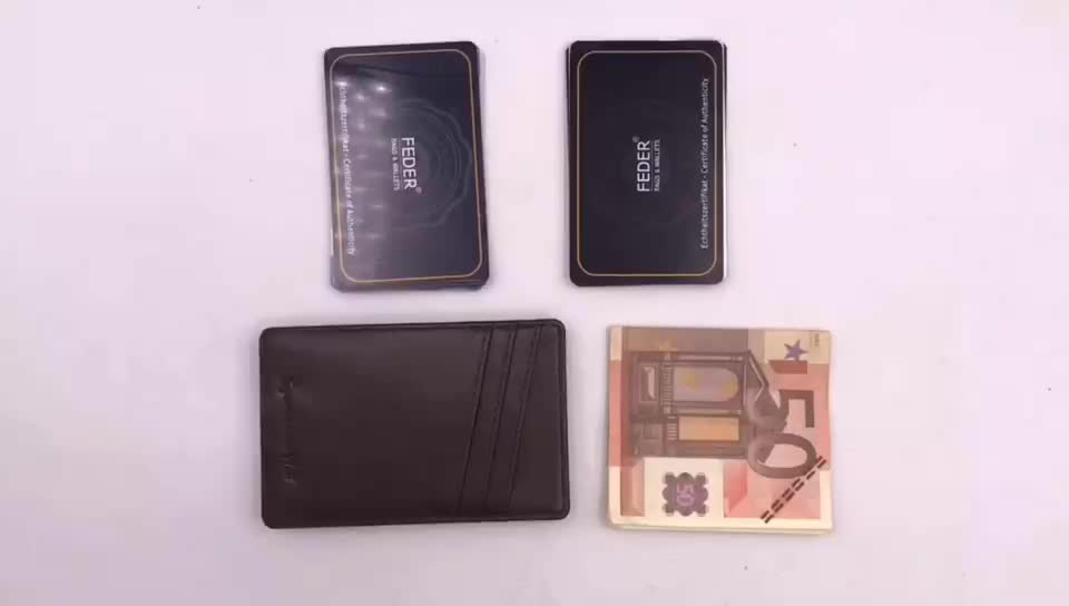 Custom leather ultra thin wallet RFID card clip, men's multi-functional wallet real pickup clip
