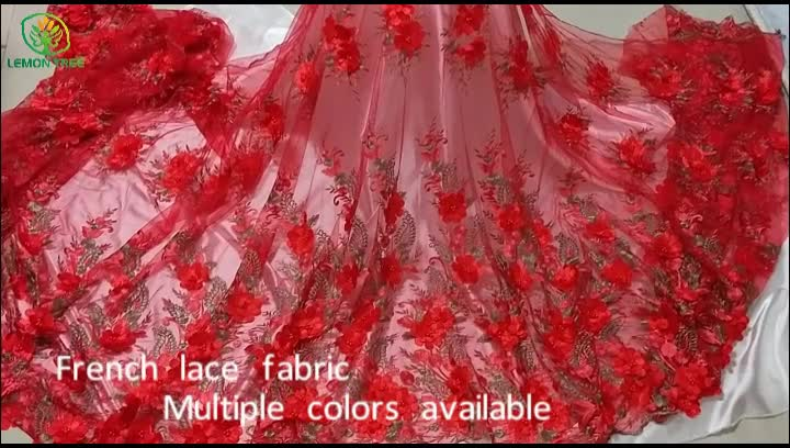 African lace fabrics Colored African 3d flower embroidery french lace fabric beaded lace fabric for wedding dress