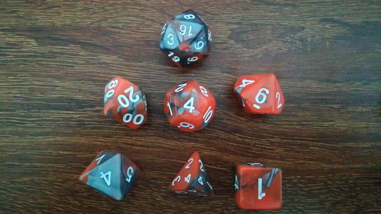 Factory new double  color 7 dice set  DND game dice