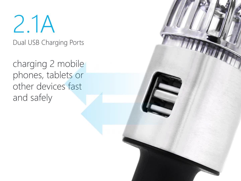 電子商取引オンラインストア最高のカスタムロゴミニ 2 1 で自動空気清浄デュアルポート車の充電器 Usb ディフューザー