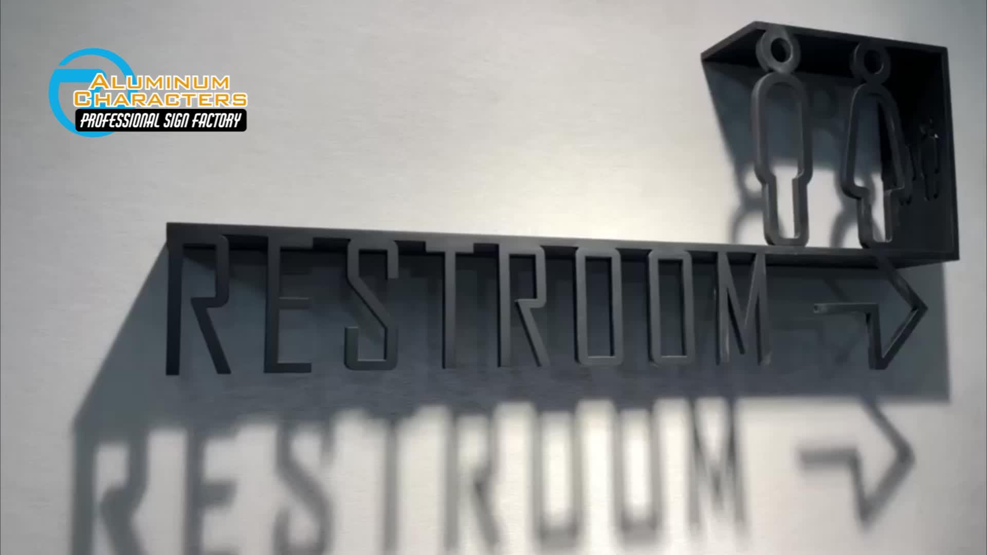 Ficar na parede de corte a laser 3d sólidos black titanium aço inoxidável wc sinal placa de metal do sexo masculino e feminino