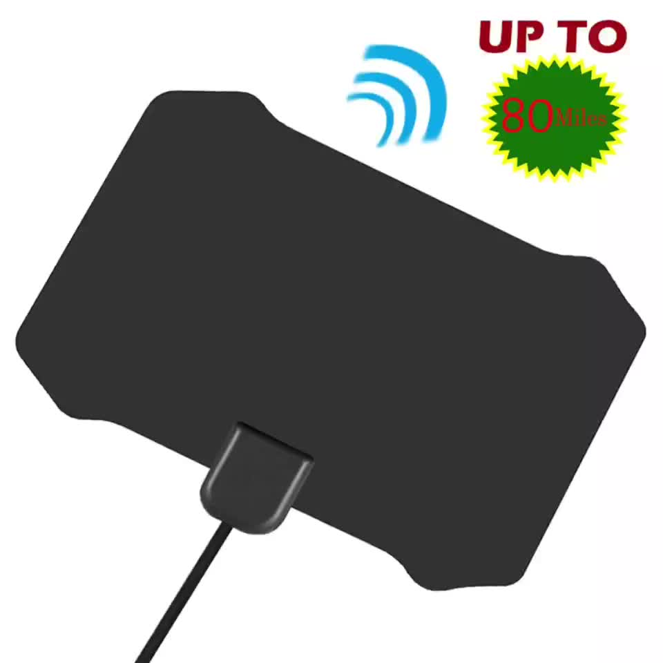 Commercio all'ingrosso digital Indoor Antenna TV Amplificata 80 Miglia di Gamma Staccabile Antena TV digitale e 13ft Coassiale Cavo HDTV Antenna