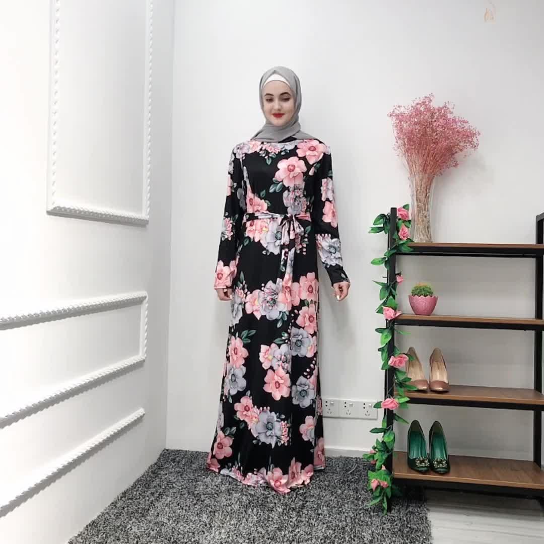 2019 Fashion Traditional Long Maxi Kaftan Islamic Polyester Clothing Muslim Women Dubai Floral Dress Abaya