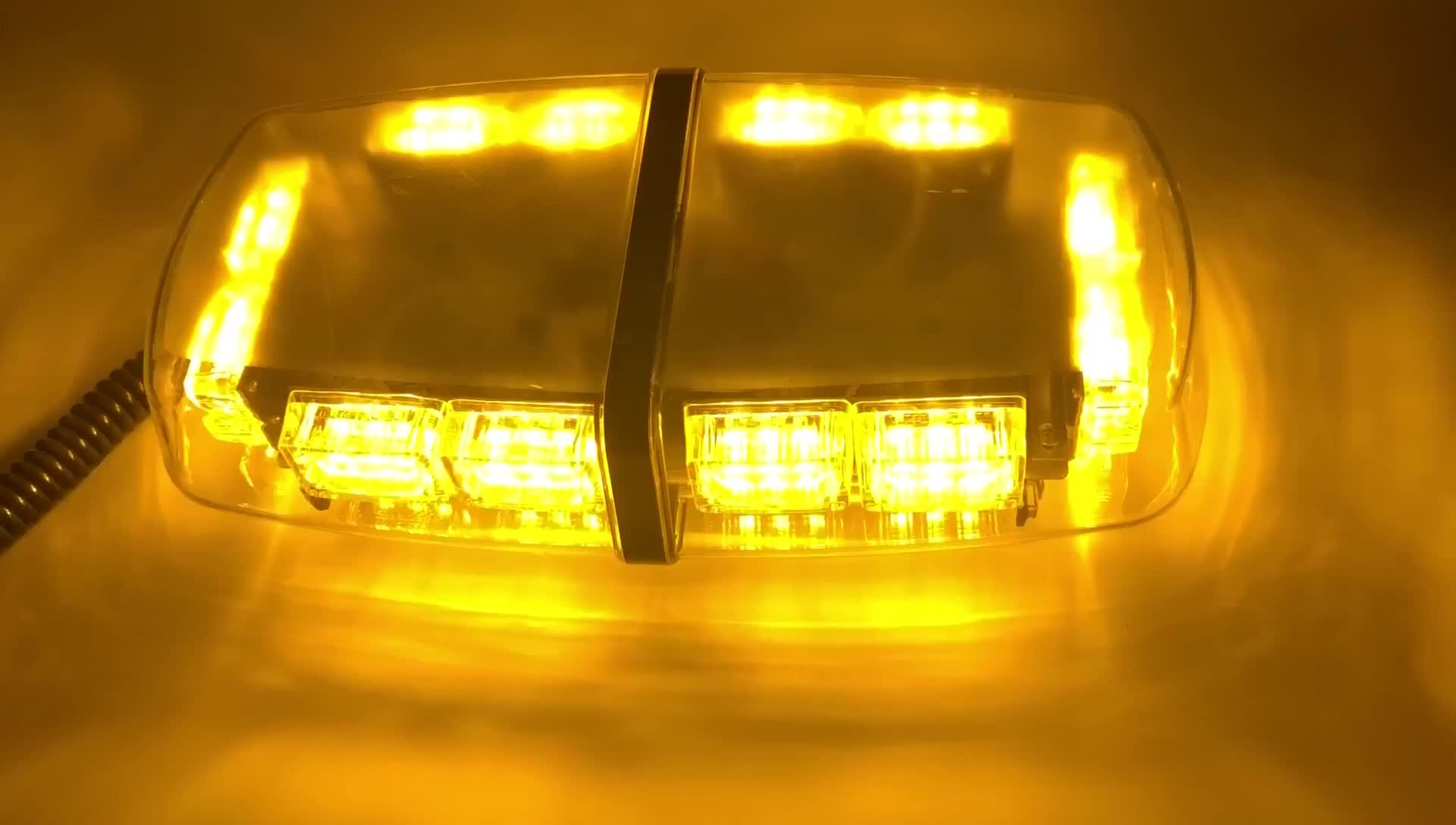 HTAUTO Hổ Phách 36 LED 18 Watts Nguy Hiểm Cảnh Báo LED Mini Bar Nhấp Nháy Khẩn Cấp cho Xe với Cơ Sở Từ Tính