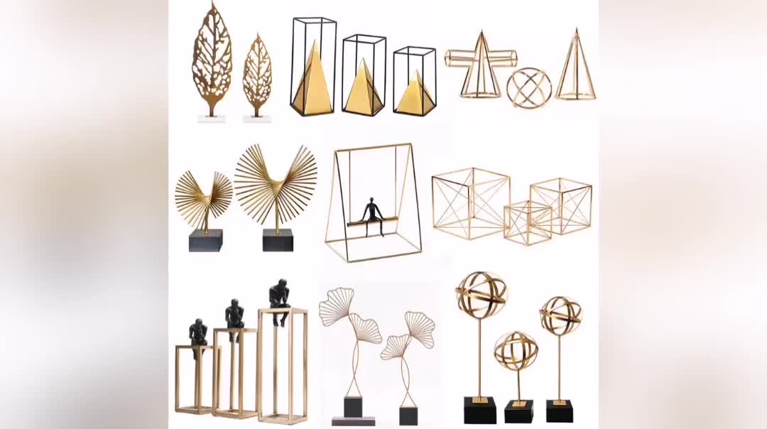 Mayco Wholesale Modern Accessories Pieces Items Handmade Welded Gold Cactus Sculpture Unique Luxury Tabletop Home Decoration