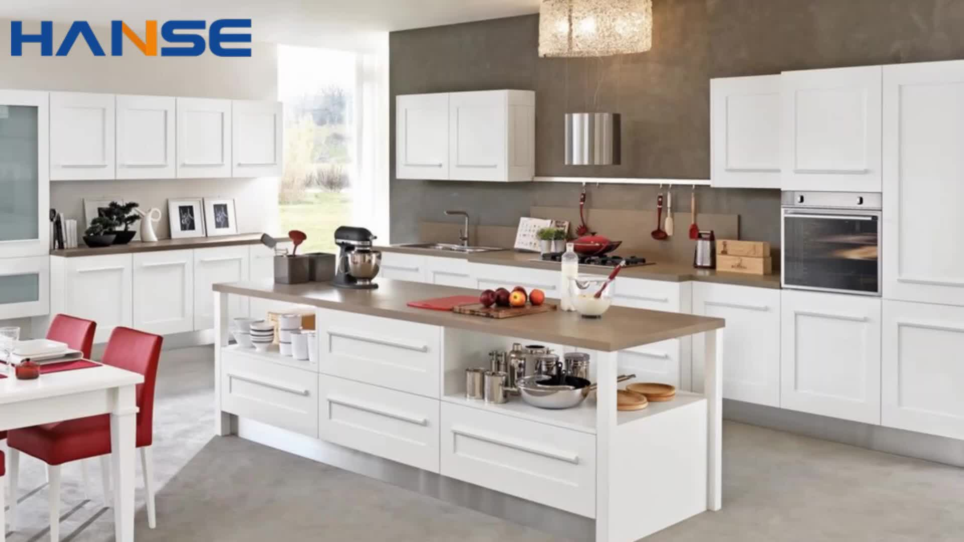 KC-SN104 china cheap modern luxury with island design solid wood white color kitchen cabinets