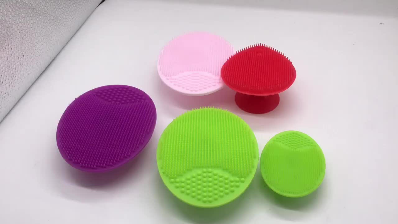 Big size suction manual silicone new face wash cleaner brush mat pad portable facial cleansing brush