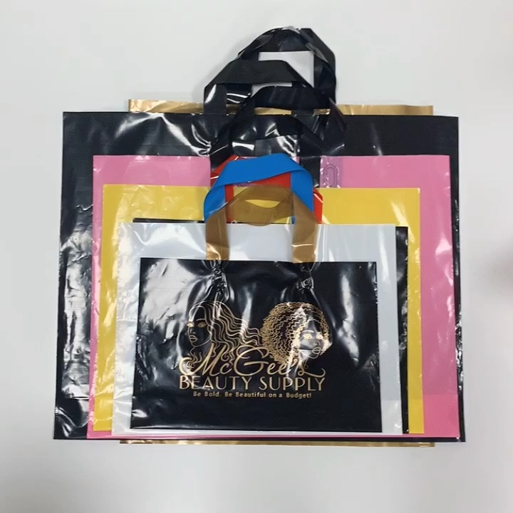 gift shop carry reusable eco-friendly ldpe custom own logo print bottom gusset plastic shopping bags with handle