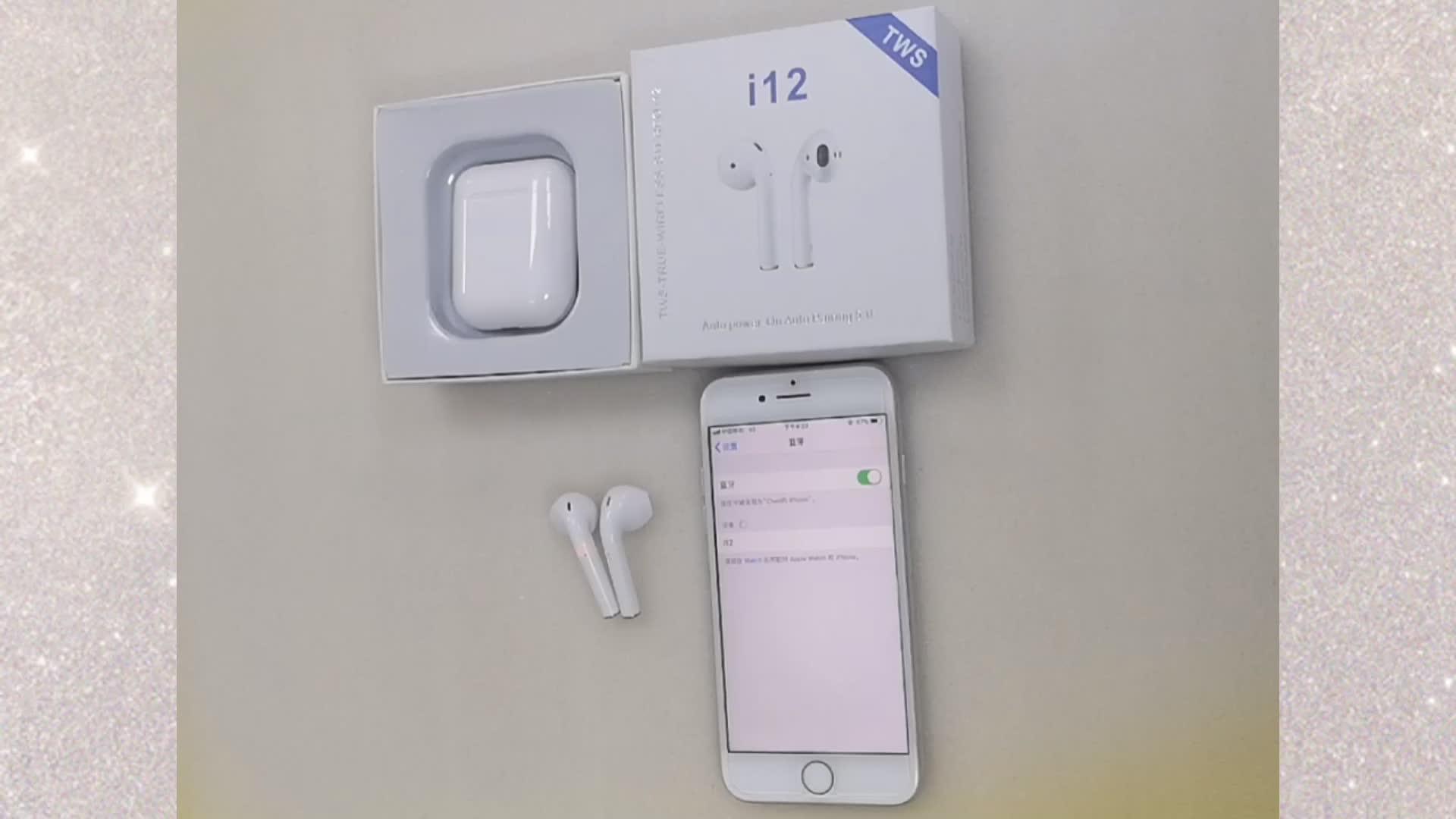Mini Tws I12s Wireless Earphone Earbud dengan Kotak Pengisian Di Telinga Digunakan Tangan Gratis Ponsel Pintar