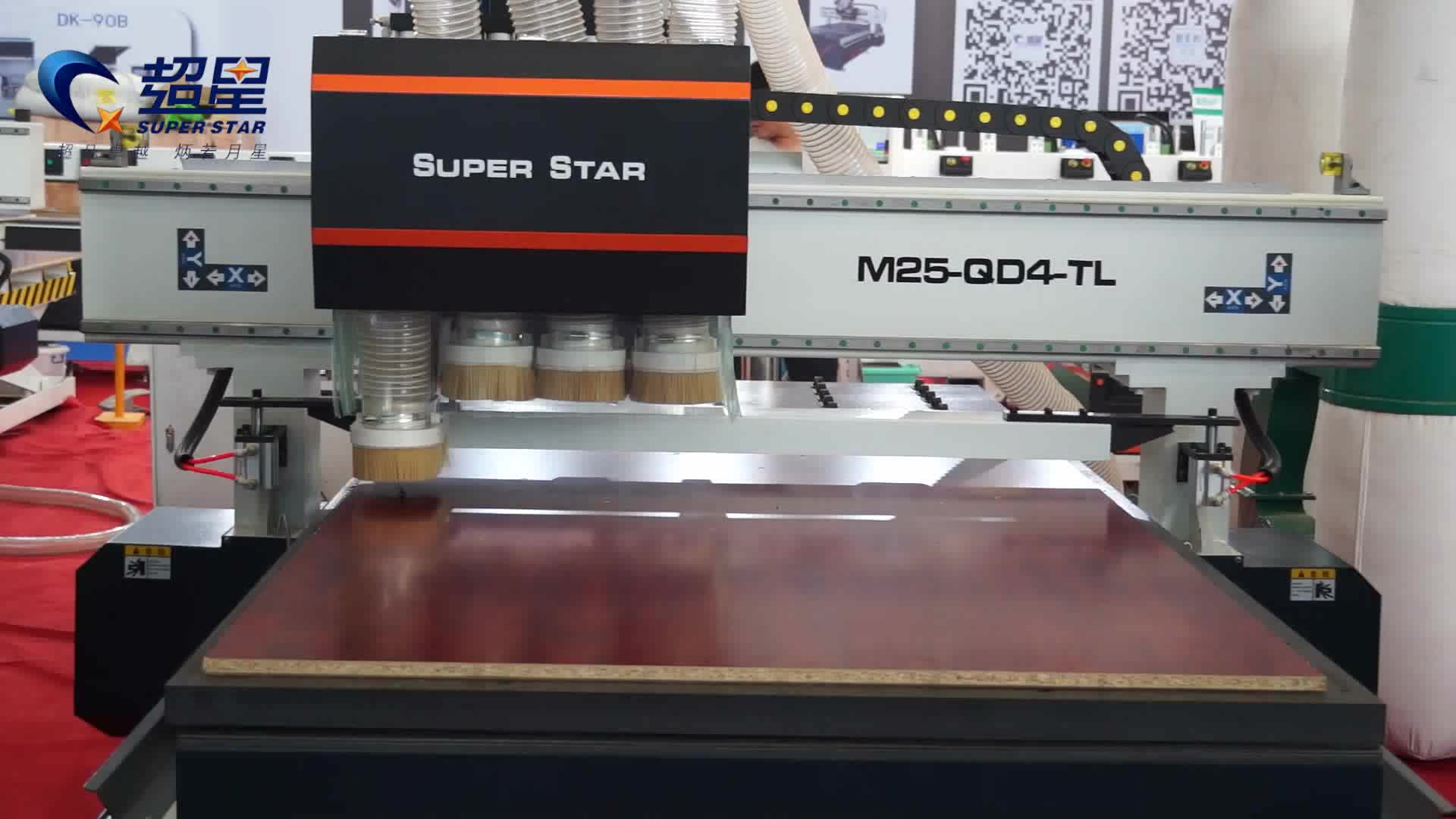 CNC multi heads router woodworking cabinets milling drilling furniture making machine