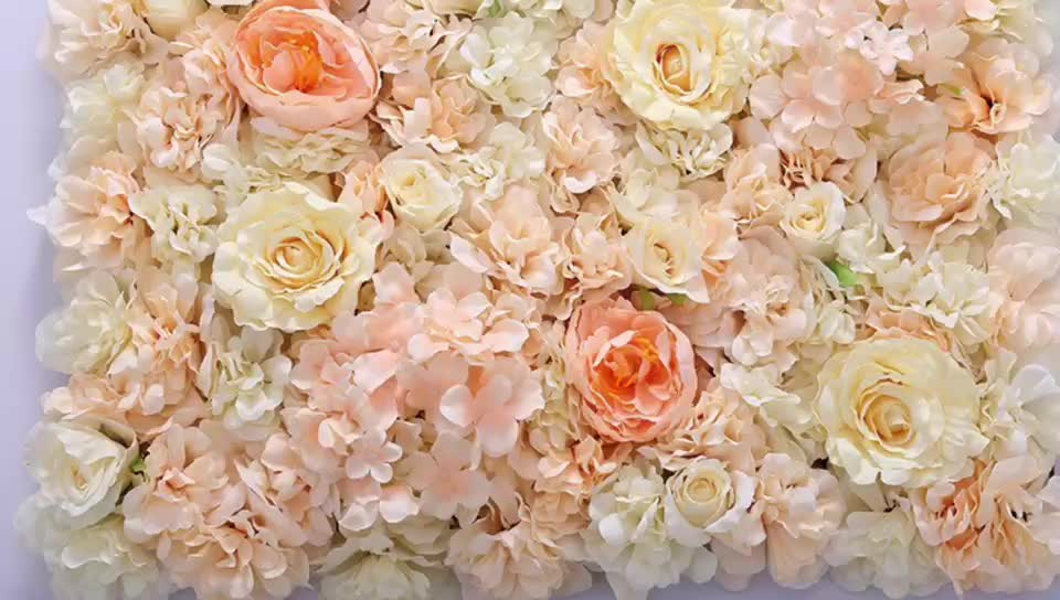 Factory wholesale champagne wedding artificial flowers wall