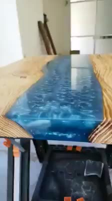 Salvaged Wood Resin Table Fish Glow in The Dark