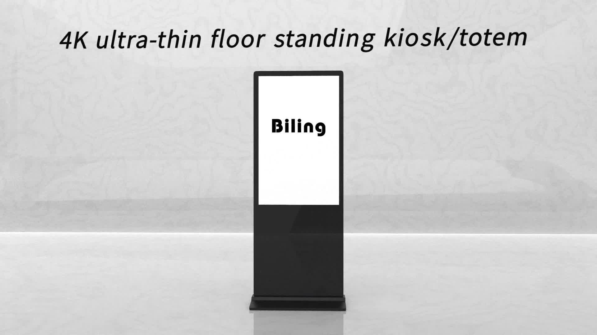 ยืนชั้น LCD แบบสัมผัสป้ายดิจิตอล 55 นิ้ว ultra thin kiosk totem จอแสดงผล lcd แนวตั้ง marketing หน้าจอสัมผัส