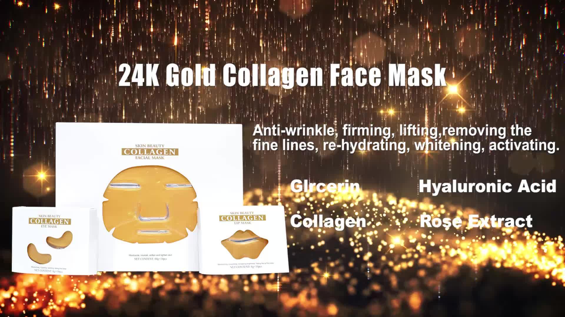 थोक निजी लेबल पौष्टिक 24 K सोने कोलेजन क्रिस्टल चेहरे का मुखौटा