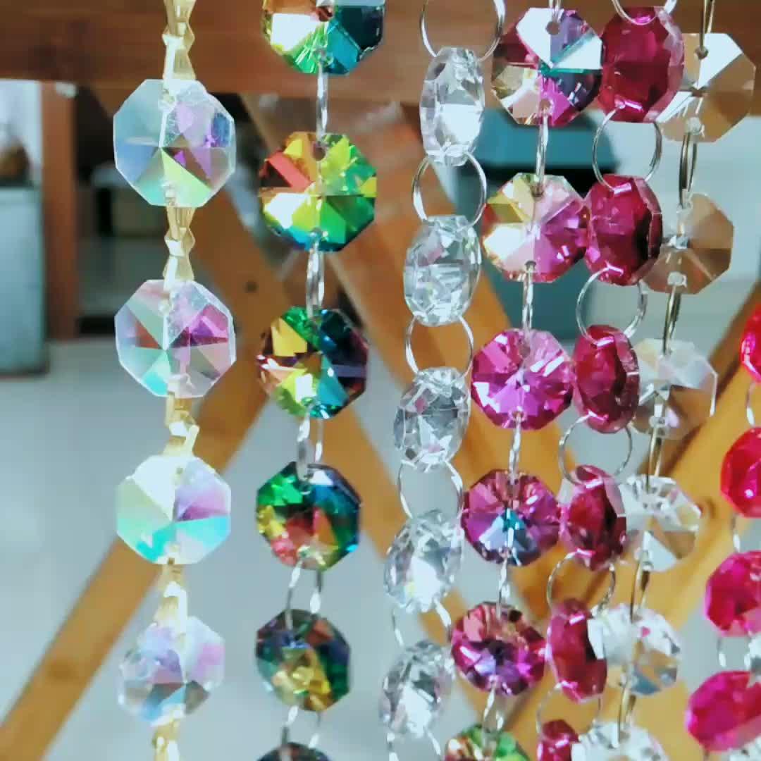 Hot Vendas 14mm octógono corrente do grânulo de vidro de iluminação lustre de cristal roxo escuro vertentes guirlanda para a decoração do casamento