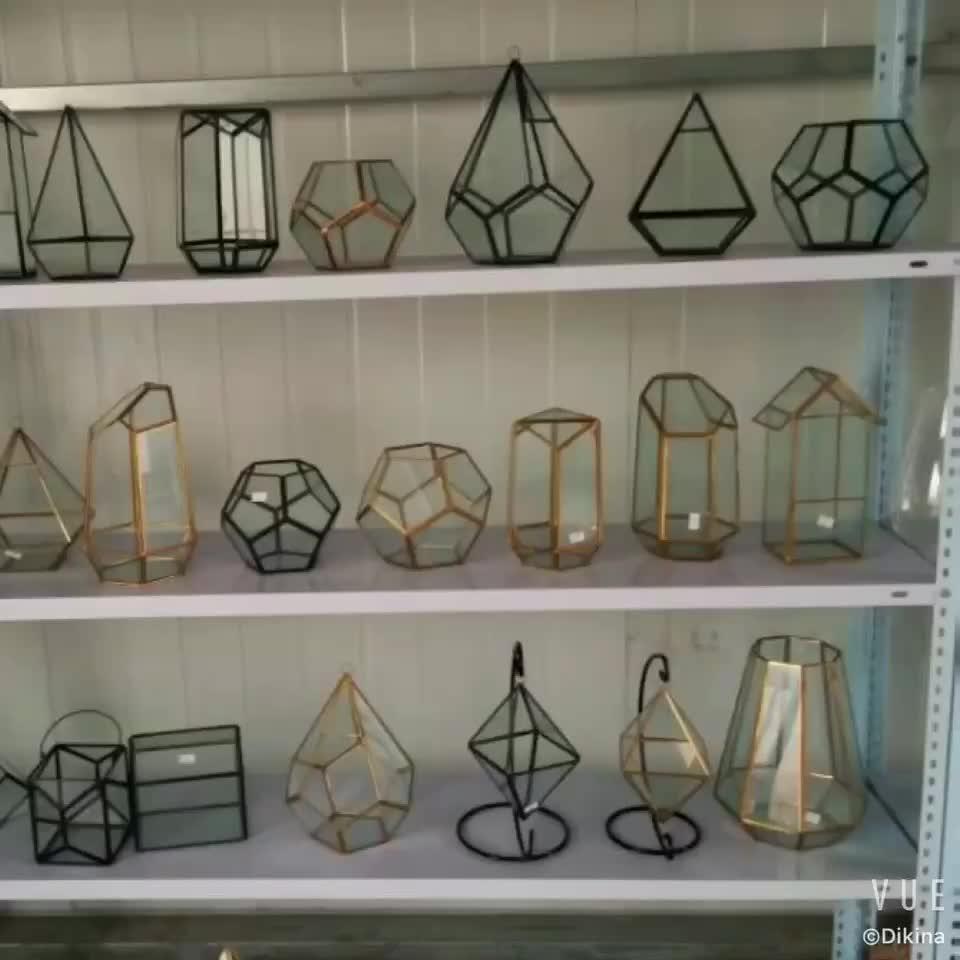 ~AVAILABLE SIZES: 11*11*9,,17.5*17.5*15cm..etc geometric planter terrarium // wholesale geometric cheap hand blown glass vases