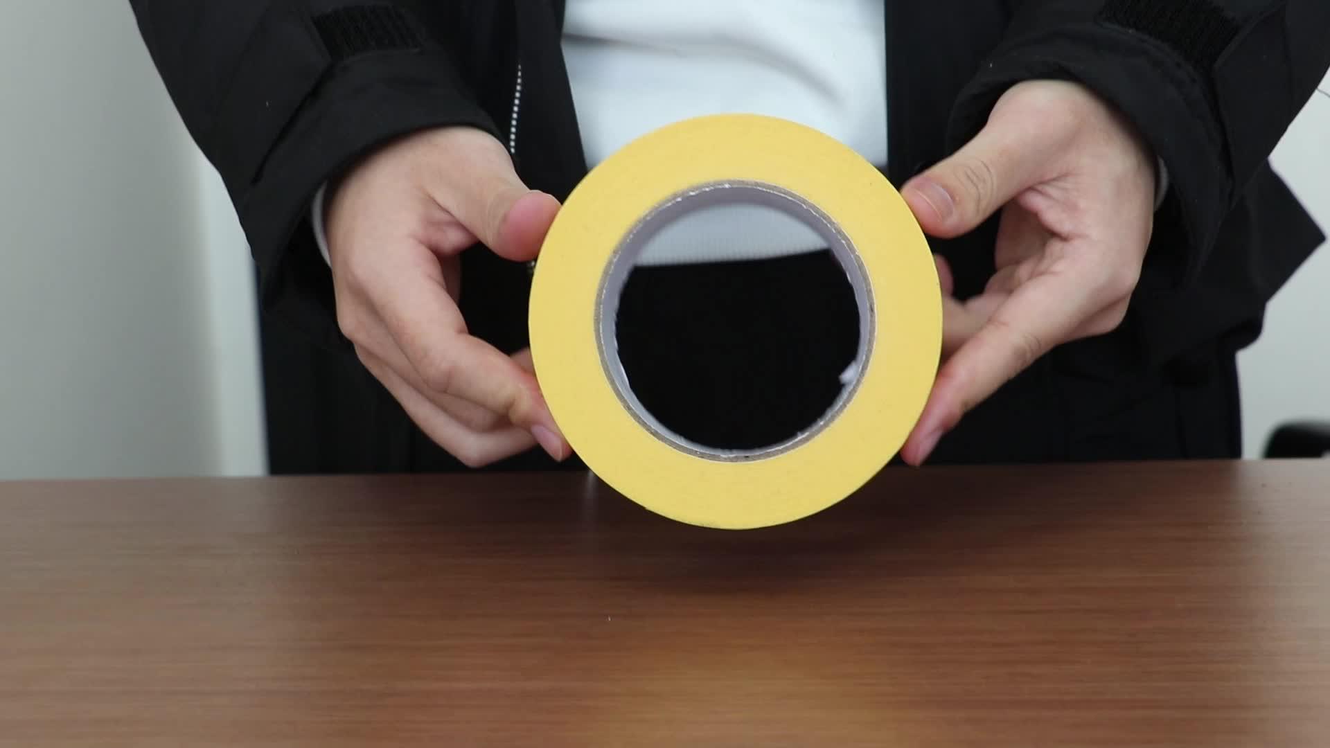 טמפרטורה גבוהה עמיד אין שאריות צהוב אוטומטי ציור רכב רכב מיסוך נייר דבק קלטת