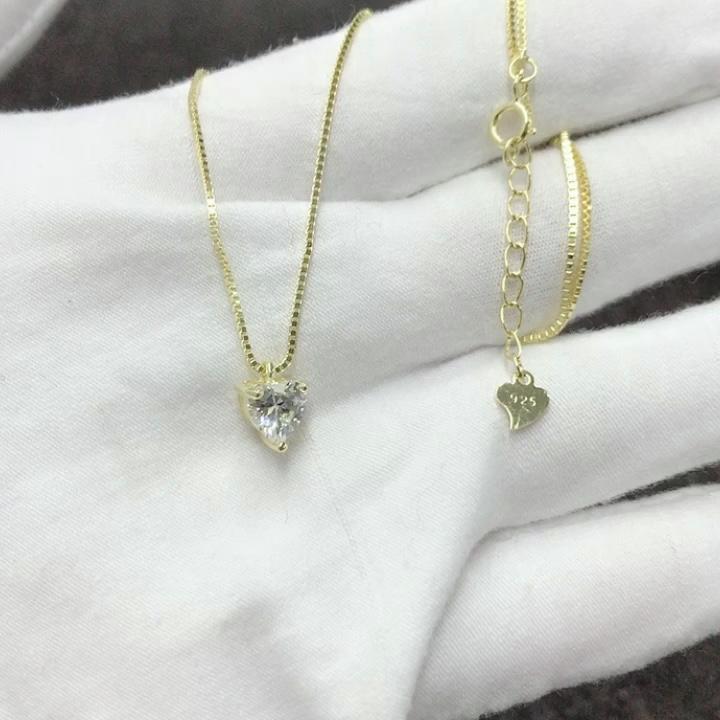 Mode frauen 14K gold überzogene 925 sterling silber herz anhänger kette halskette