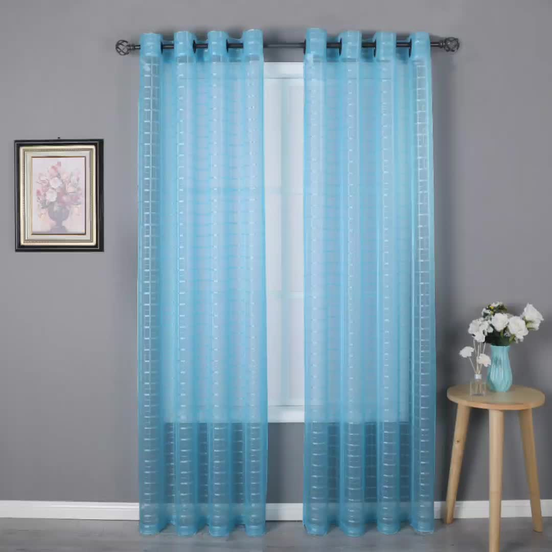 Wholesale china factory cheap sheer curtain fabric lattice plaid tulle light & airry grommet blue panels