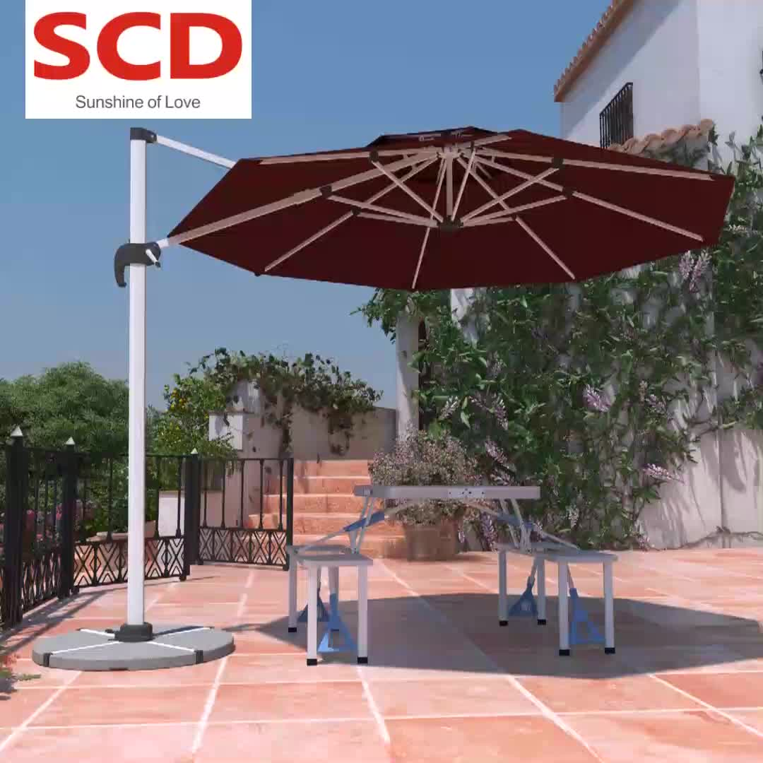 3x3m 2.5x2.5m  Patio Offset Cantilever Cafe Restaurant Outdoor Umbrella With Marble Base