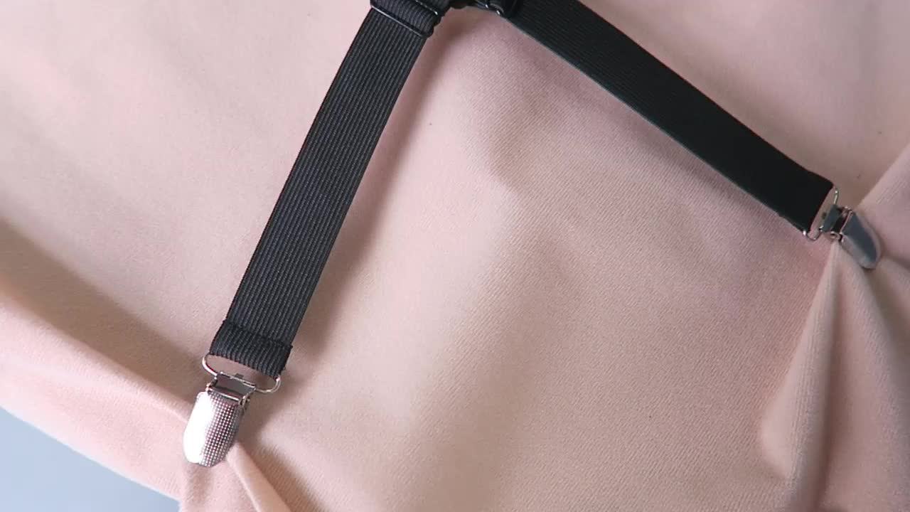High quality bed sheet corner holders elastic grippers suspenders holder straps clips fasteners with metal clip adjusters