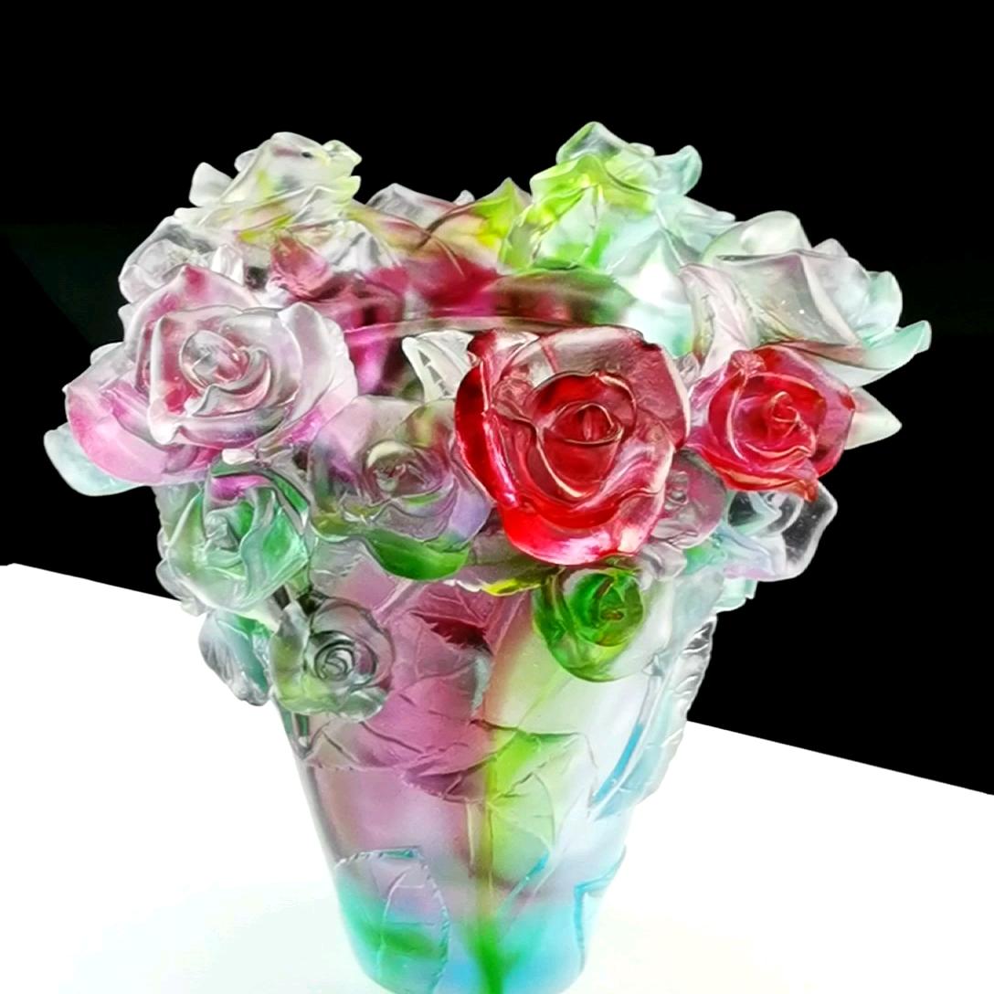Fengming nuevo diseño arte regalos de artesanía Multicolor rosa de vidrio quemador de incienso para Oficina Decoración