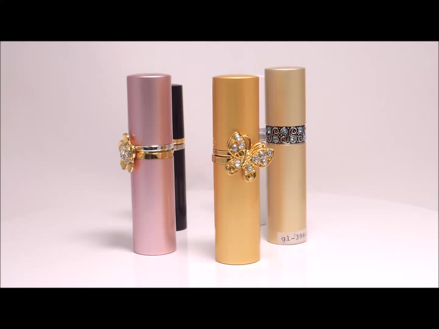Lovely fragrance red aluminum ring refillable cylinder purse atomizer