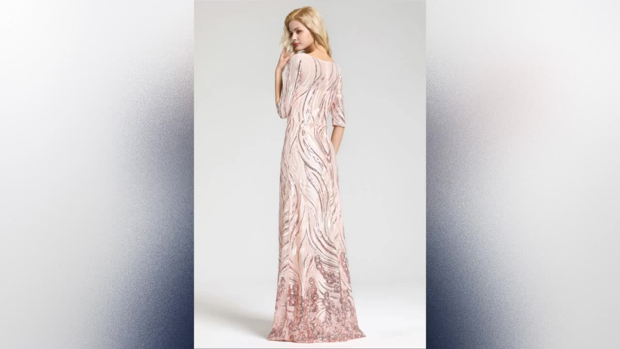 New fashion women sexy sequined lace night gowns Celebrity Party dresses  Sleeves Long Sequined Mermaid Evening Dress 2019