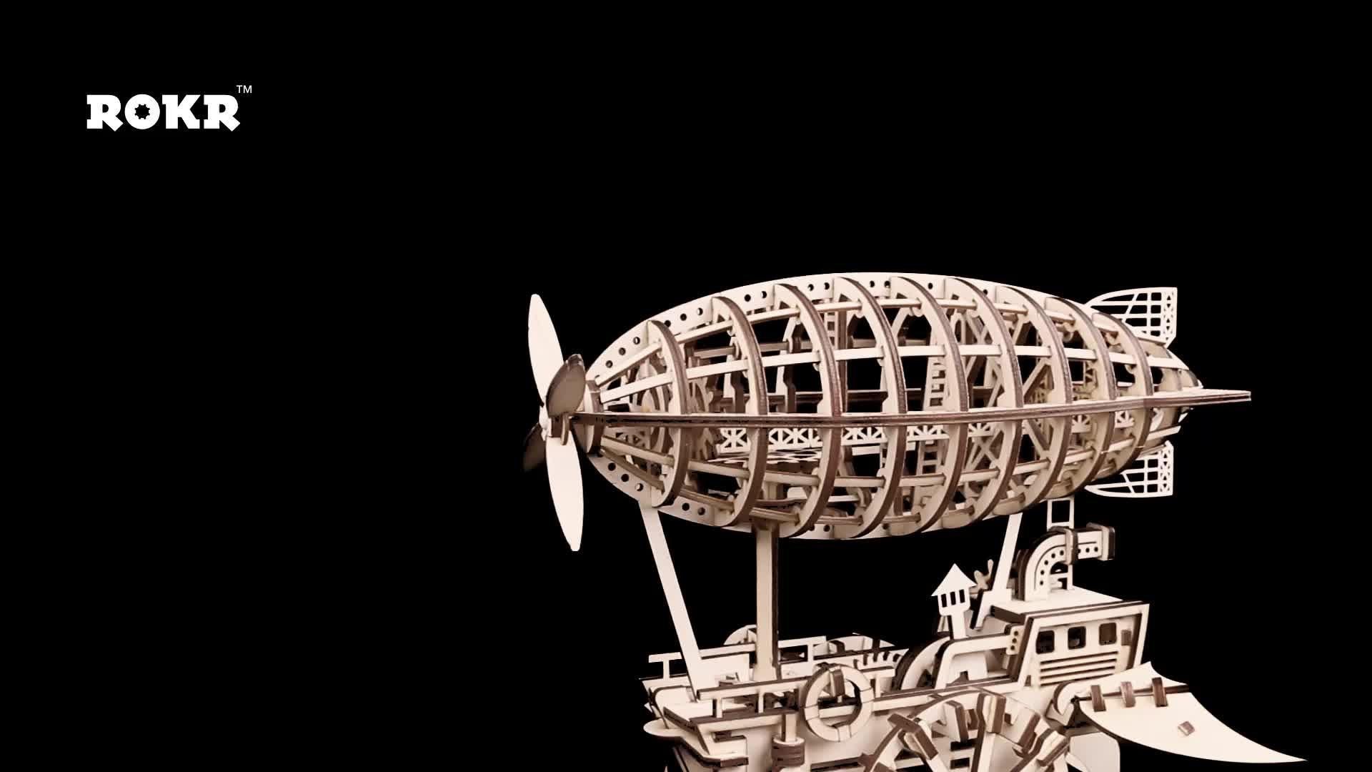 Dirigível Personalizado de Madeira Cérebro Teaser de Puzzle Jogos Adulto, Conjunto de construção 3d Puzzle De Madeira para Adolescentes e Adultos