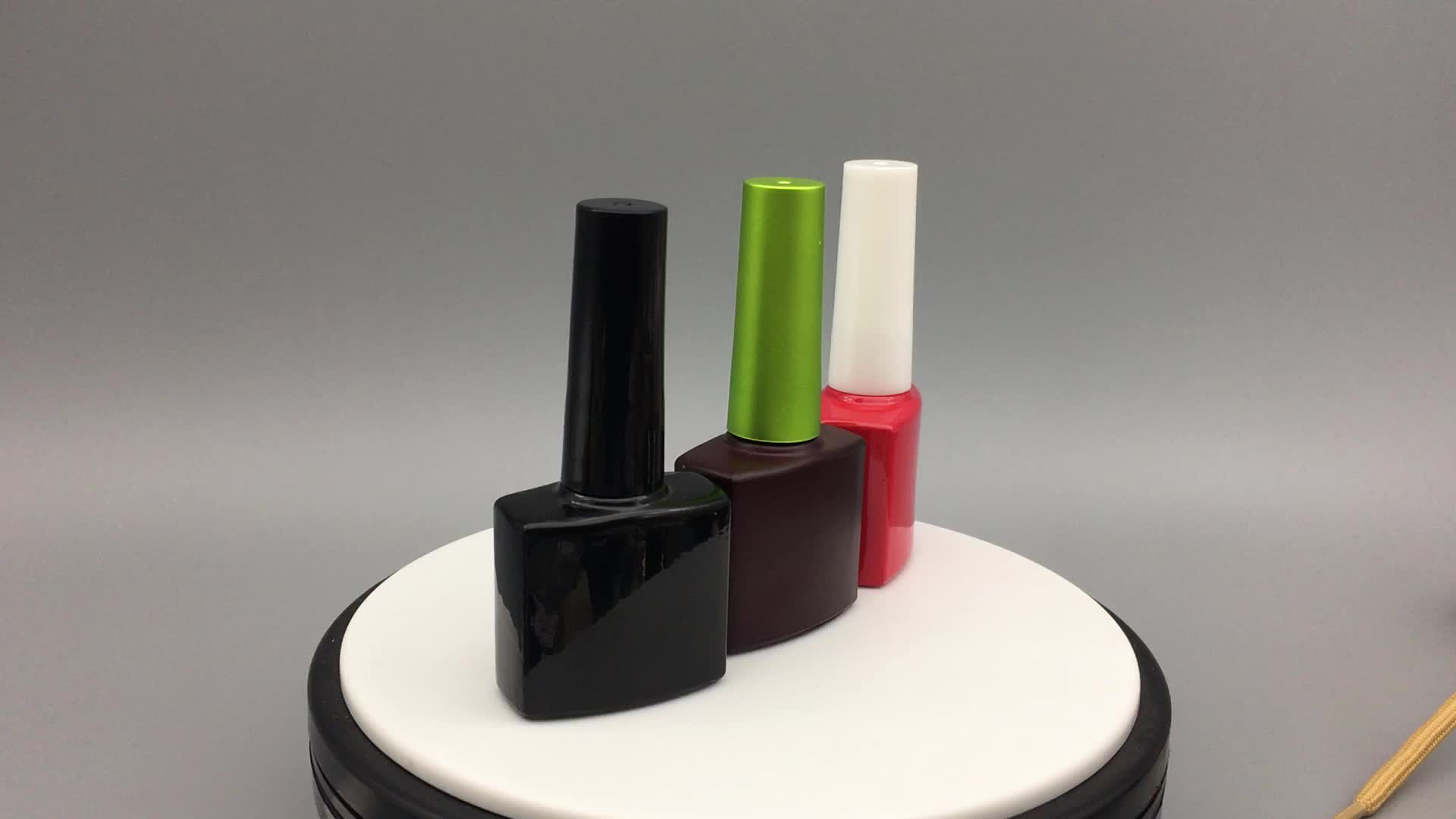 Fancy 9ml 10ml square black red amber glass empty uv gel nail polish bottles with gold round caps and thick gel brushes