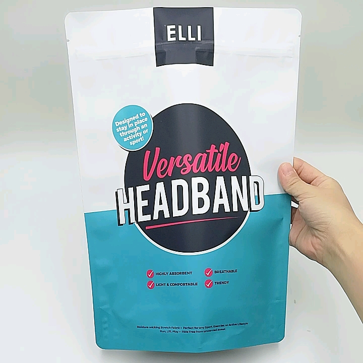 Matte White Zipper Stand Up Pouch For Headband