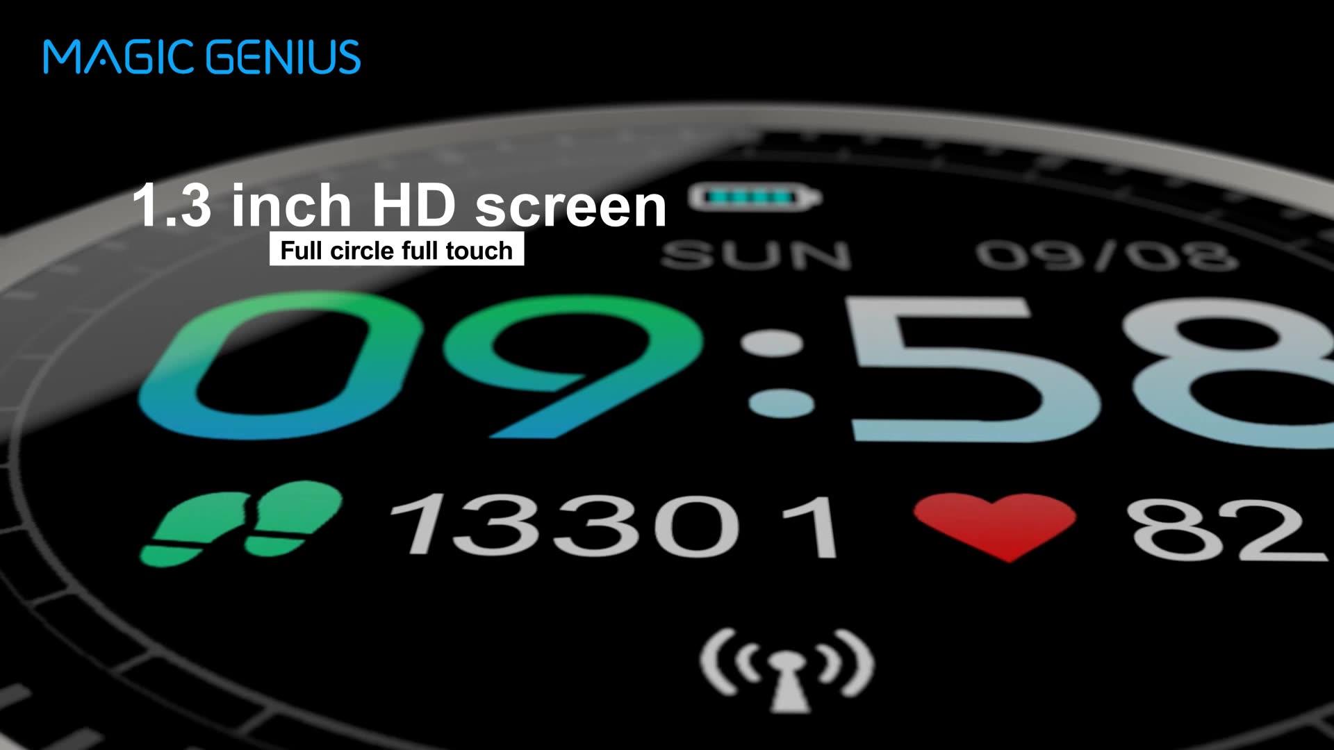 High-EndสุขภาพFull Touch Screen Heart Rate Monitorเลือดออกซิเจนนาฬิกาสมาร์ท