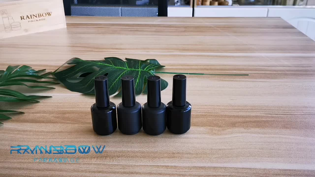 factory price stocks cosmetic package uv protect 15ml empty black nail polish bottle with cap and brush