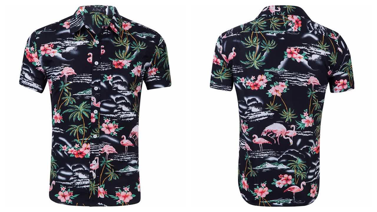 Commercio all'ingrosso Degli Uomini Del Manicotto Del Bicchierino di Estate Spiaggia di Sublimazione Hawaiano Camicia Camisa Masculina Rosso Floreale Cotone Stampato Hawaii Camicie