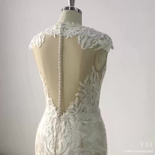 New lace wedding gown mermaid pearl beads for wedding dress