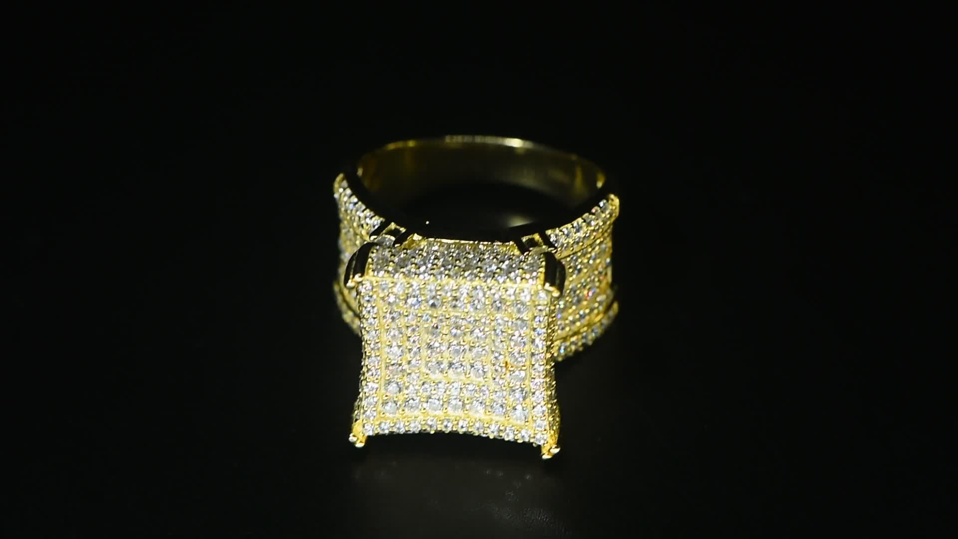 Oro Dei Monili di Hip Hop Fornitori di Nuovo Prodotto 2020 Vera E Propria Piazza Anello di Diamanti Bling Plain Anelli D'oro Con Il Prezzo