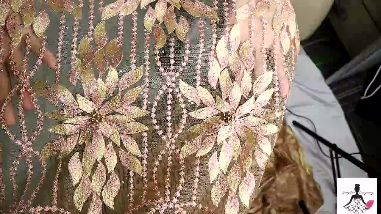 New  Fashion Heavy Beaded Tulle African Lace Fabric, New Coming Embroidered Fabric Gold Yellow African Lace /