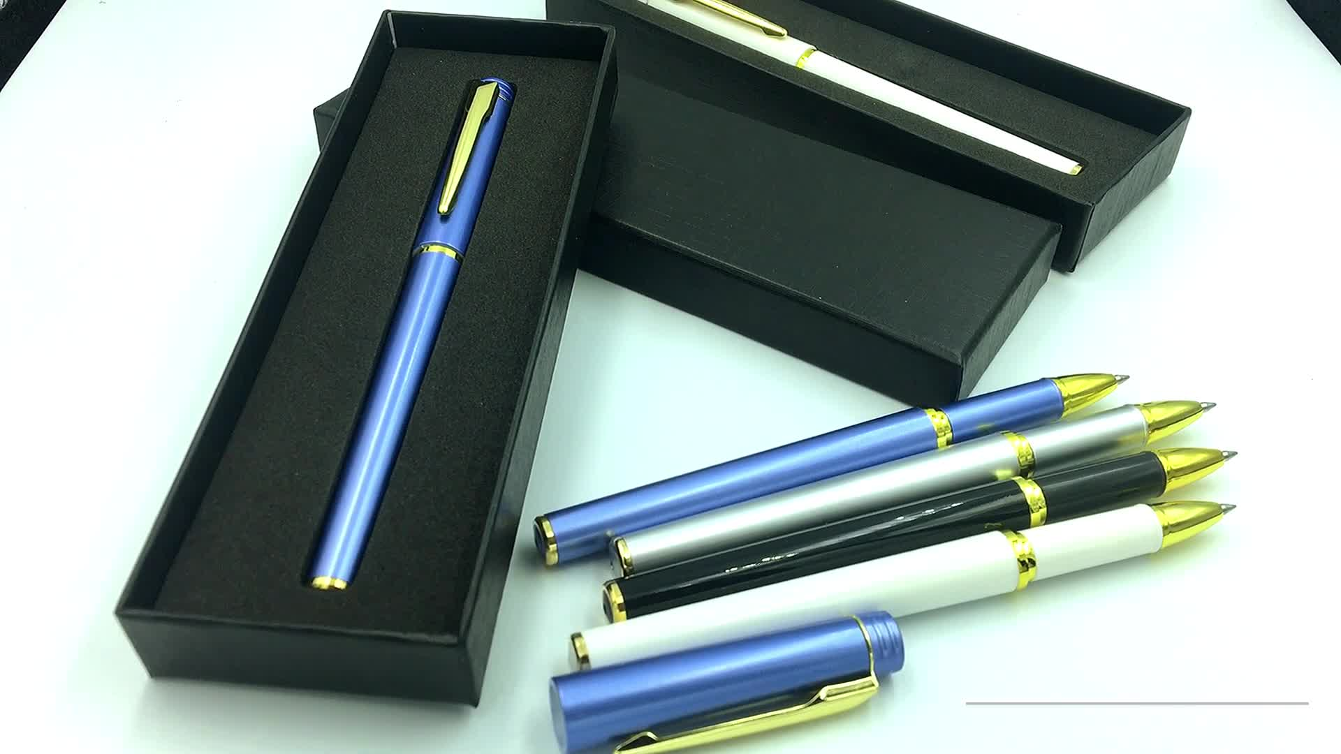 Plastic promotional business gift set UV printing logo advertising custom gel pen with gift box