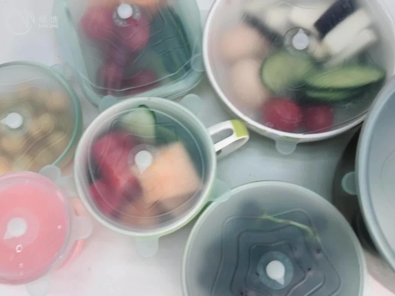 Wingenes 新再利用可能な食品グレードのシリコーンラップボウルシールカバーストレッチ蓋食品新鮮な維持蓋柔軟なシリコーン蓋