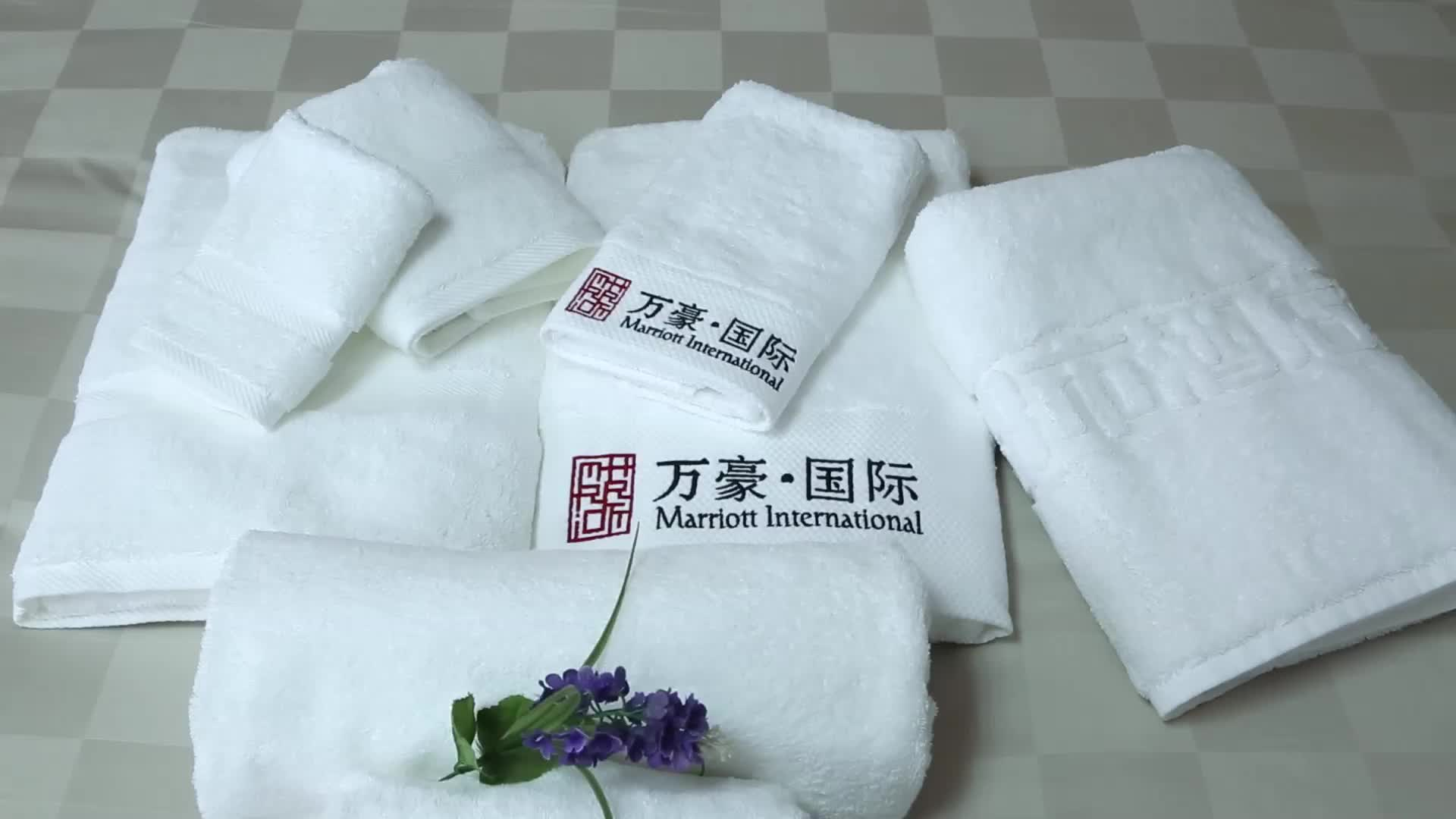 Solid Plain white 100% cotton hotel bath linen towels set without logo in stock Guangzhou