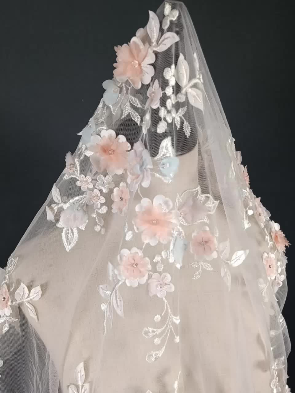 Handmade colorful beaded 3d flower lace for lady dress