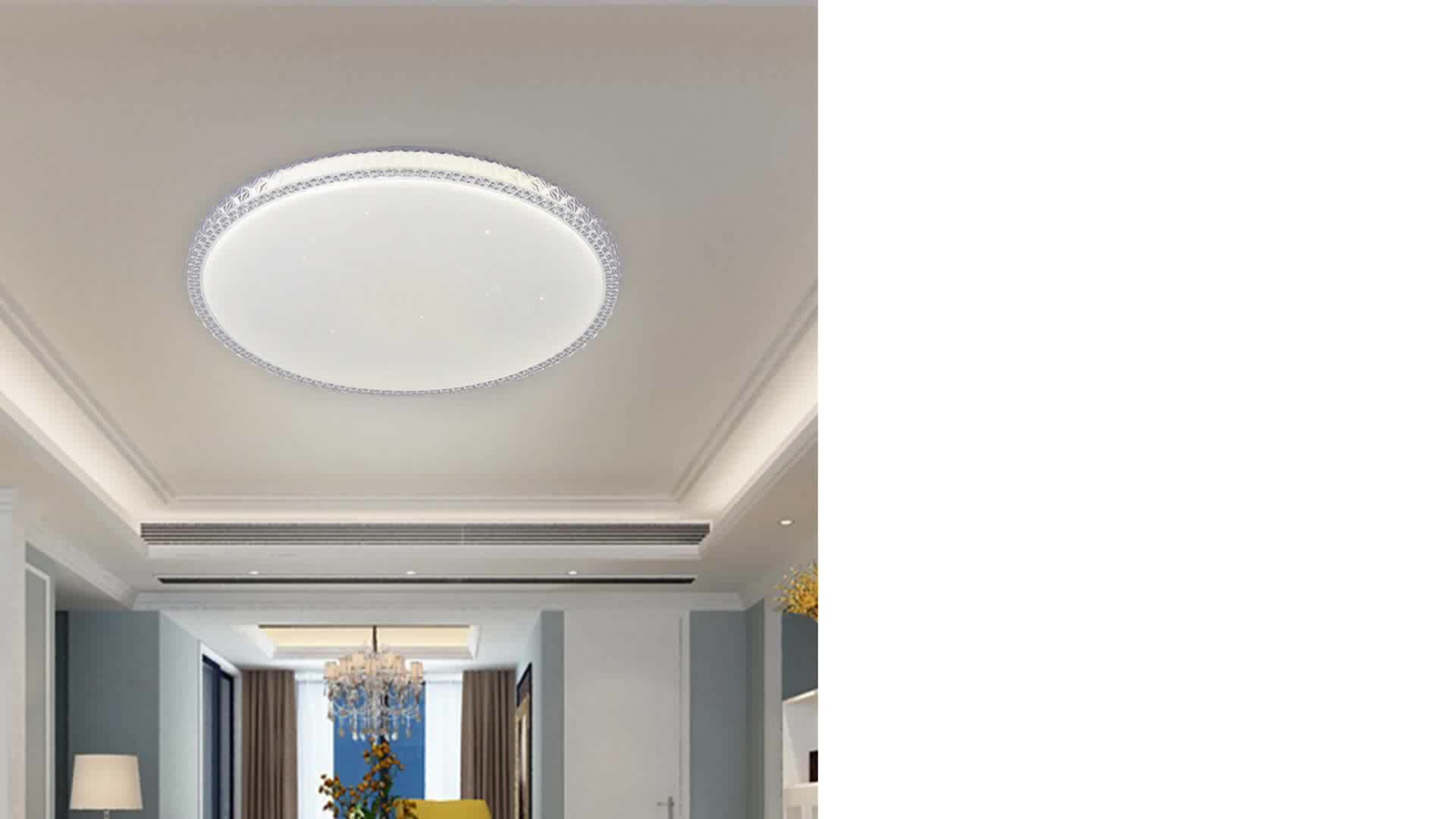 Infrared RGB LED CCT Change Ceiling Light Envis Colorful Round Star Acrylic 36W 48W Ceiling Light for Living Room Bedroom Office