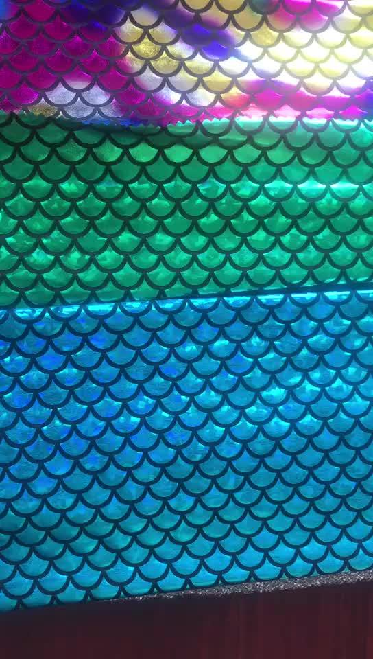 Échelle de poisson imprimé tissu imperméable de tissu de lycra de bout droit de 4 manières