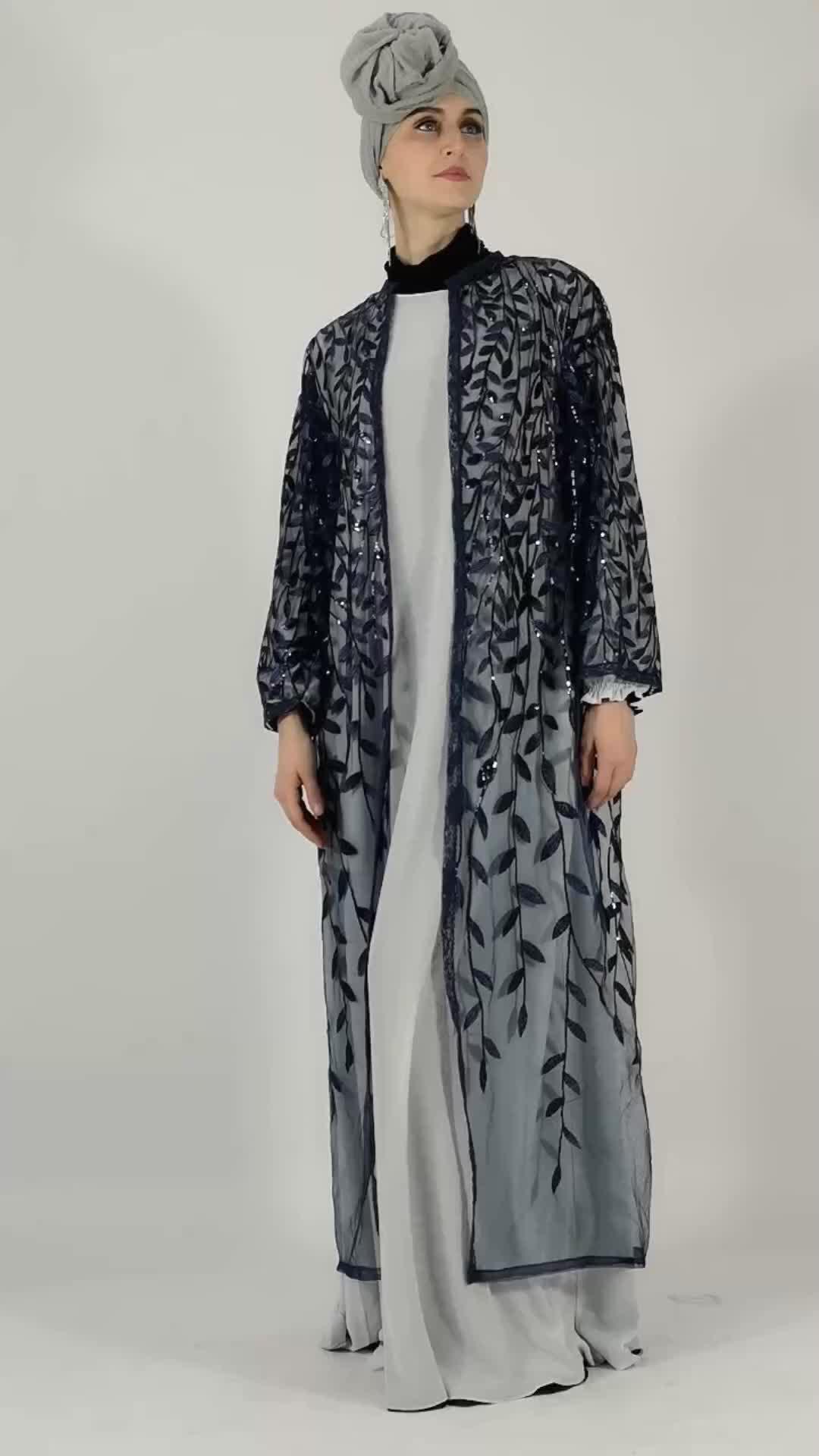 2019 EID Islamic Dubai Dress Modest Long Open Cardigan Leaves Sequins Kimono Women wholesale Islamic clothing abaya factories